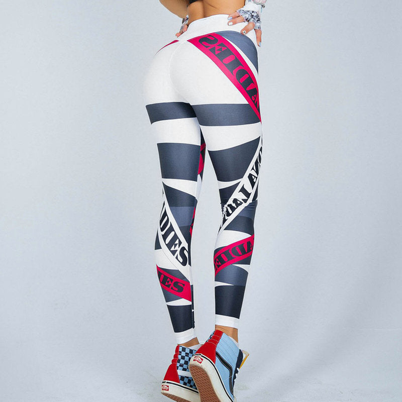Women Compression Elastic Gym Fitness Sport Printed Leggings - CTHOPER