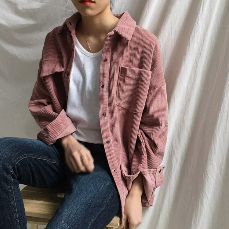 Women Winter Big Autumn Corduroy Jacket Coats - CTHOPER
