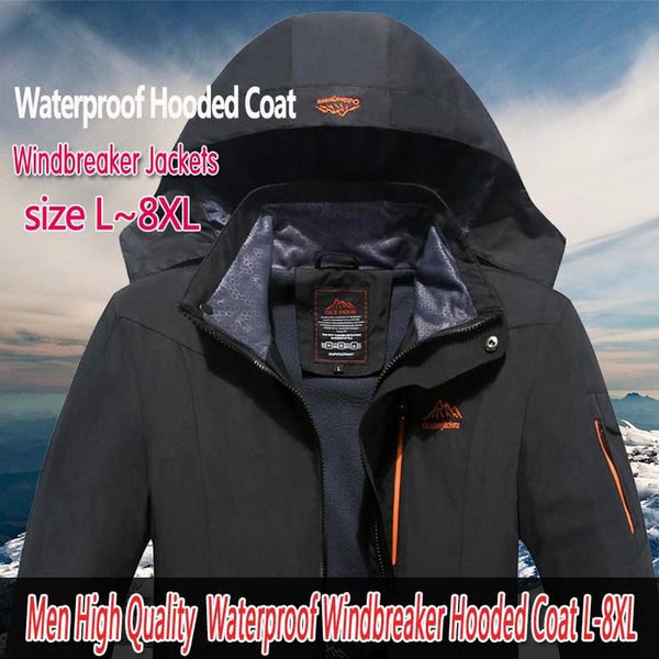 Plus Size Men's Windproof Tourism Mountain Windbreaker Hooded Jacket Coat - CTHOPER