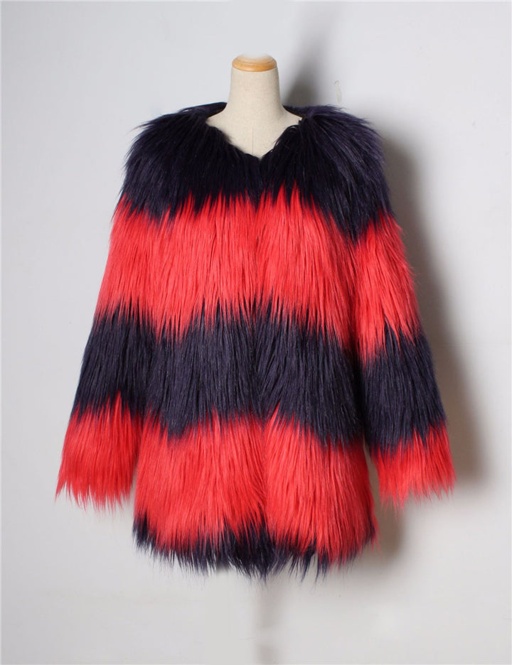 Women Long Patchwork Vintage Faux Fur Coat