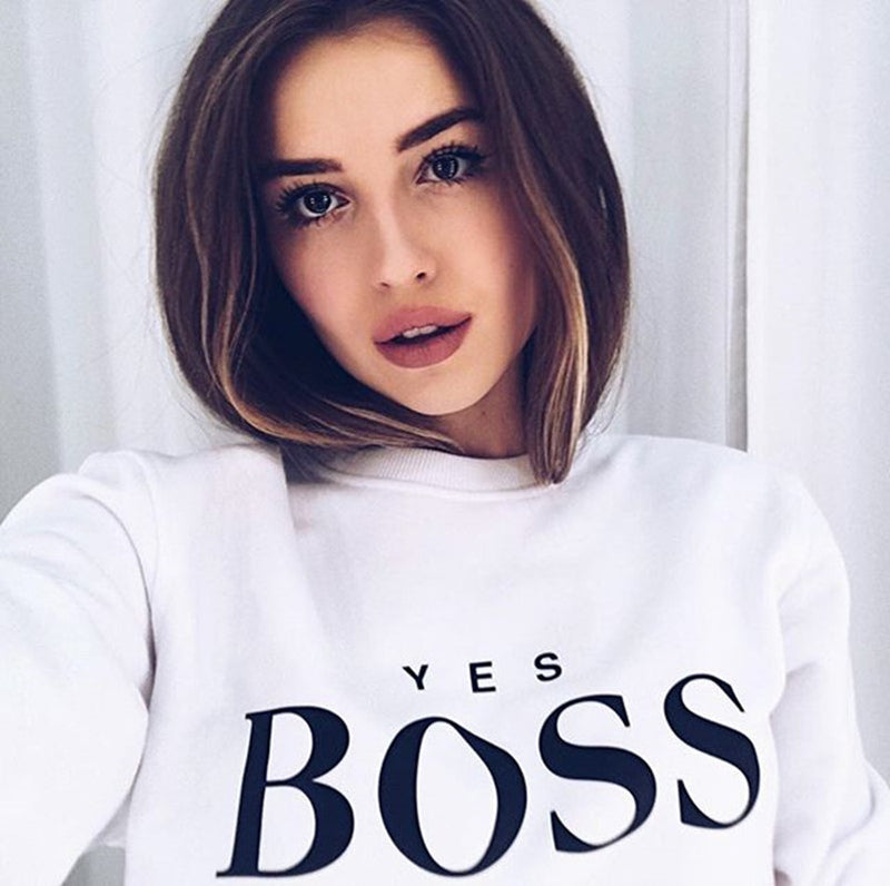 "Womens ""Yes Boss"" Letter Printed Long Sleeve O Neck Hoodie Sweatshirt - CTHOPER"
