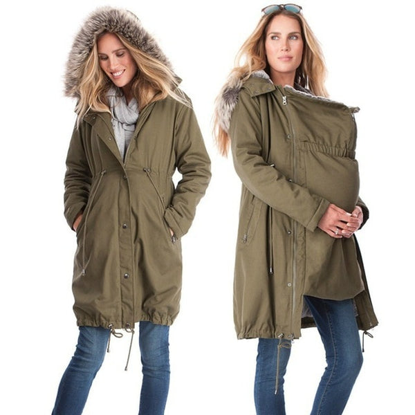 Long Keep Warm Kangaroo Maternity Jacket - CTHOPER