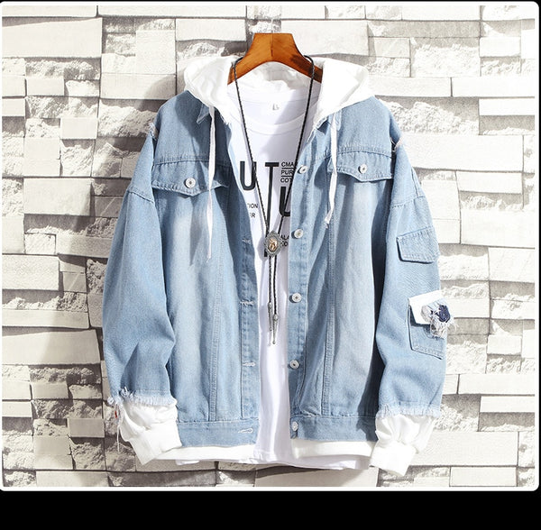 Men's Retro Hip Hop Denim Bomber Jacket - CTHOPER
