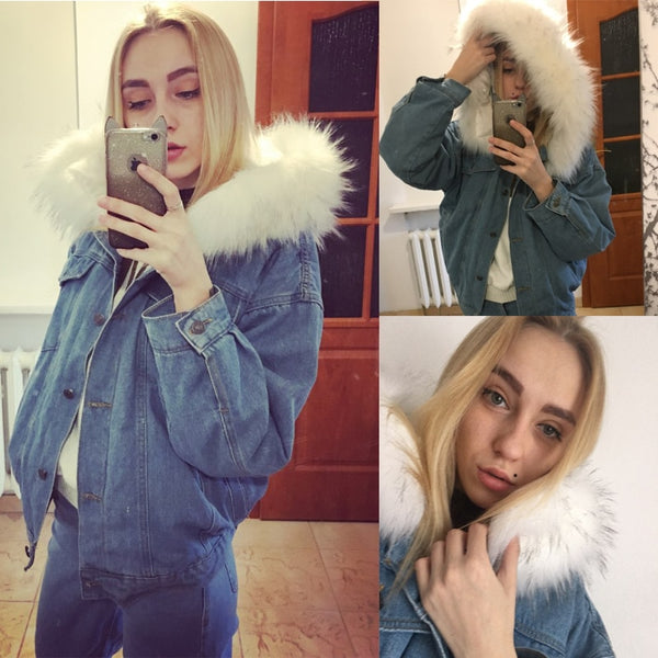 Women's Winter Bomber Hooded Windbreaker Coat Denim Jackets - CTHOPER