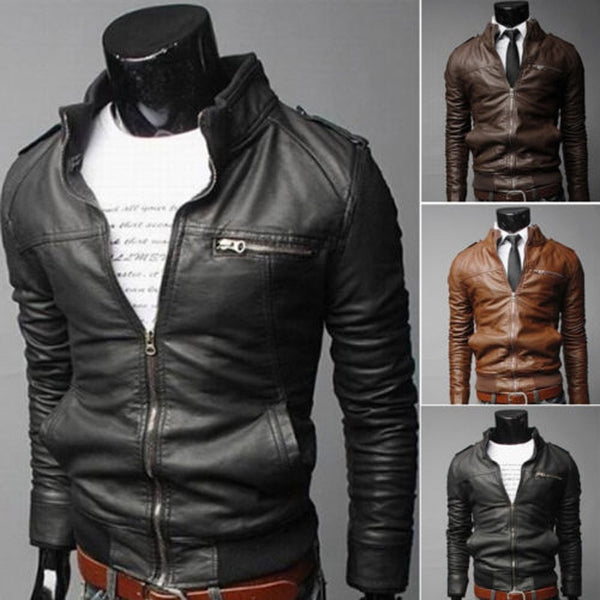 Men Zipper PU Leather Biker Slim Fit Motorcycle Jackets - CTHOPER
