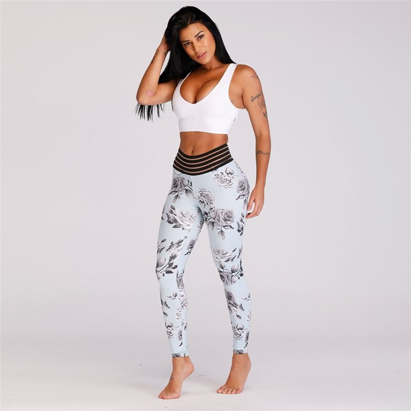 Women Print Rose High Waist Push Up Sport Yoga Pants - CTHOPER