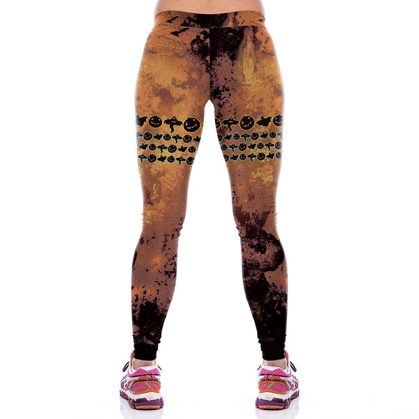 Women's High Waist Printed Halloween Yoga Pants - CTHOPER