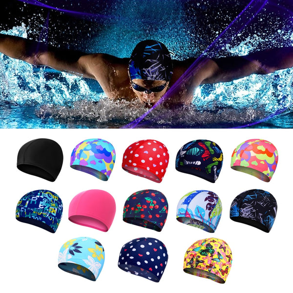 Women & Men Elastic Waterproof Silicone Rubber Colorful Swim Cap - CTHOPER