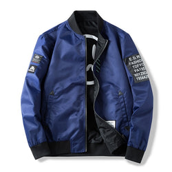 Men Both Side Windbreaker Pilot Bomber Jacket with Patches - CTHOPER