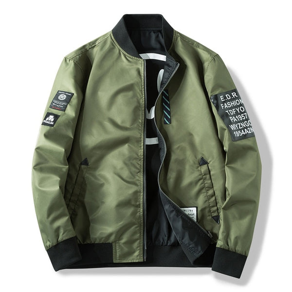 Men Both Side Windbreaker Pilot Bomber Jacket with Patches