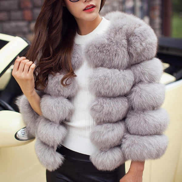 Women Winter Plus Size Faux Fox Fur Overcoat Jacket Coat