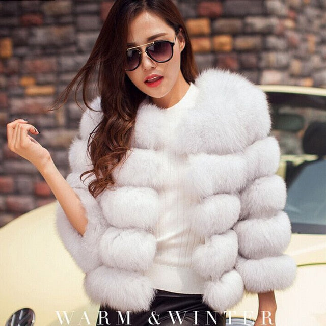Women Winter Plus Size Faux Fox Fur Overcoat Jacket Coat - CTHOPER