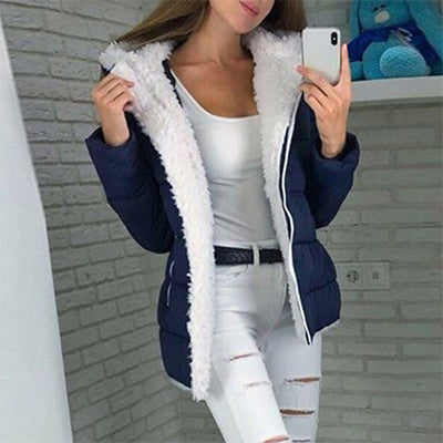 Women Winter Casual Hooded Plus Size Retro Warm Plush Coats - CTHOPER