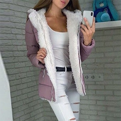 Women Winter Casual Hooded Plus Size Retro Warm Plush Coats