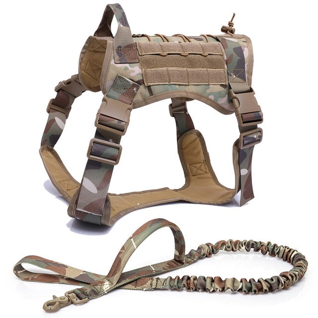 Small & Large Tactical Service Dog Harness Vest With Nylon Bridge Handle For Puppy German Shepherd Pet Dog - CTHOPER