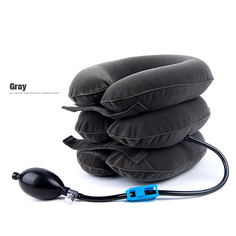 Inflatable Air Neck Brace Adjustable Stretcher Soft Cervical Traction Support Pillow - CTHOPER