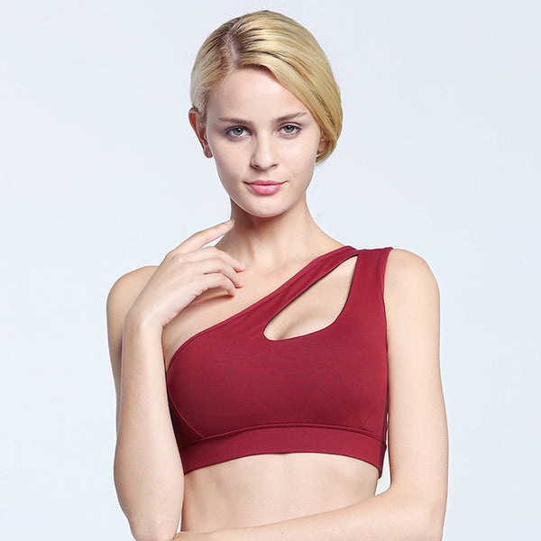 Sexy Women One Shoulder Solid Push Up Fitness Yoga Sports Bra - CTHOPER