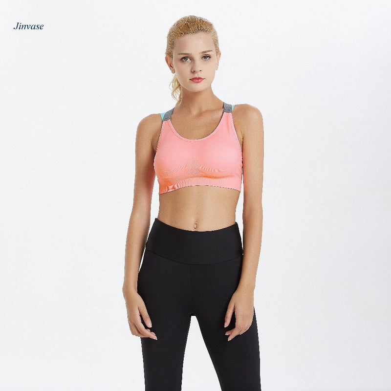 Padded Wirefree Adjustable Shakeproof Fitness Strappy Sport Bra for Women - CTHOPER