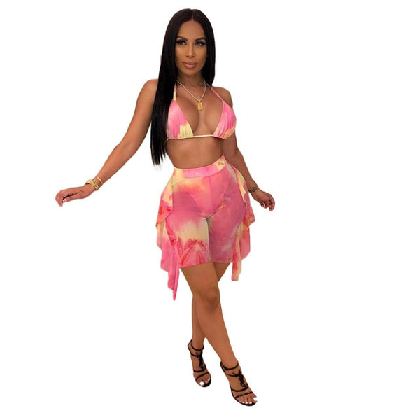 2021 Sexy Two Piece Set Print Swimwear Bikini Crop Tank Top And Panys Swimsuit Women Beach Holiday Clothes For Women
