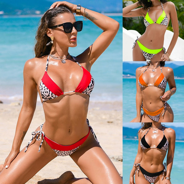 2021 Sexy Bikini Women Swimwear Suit Leopard Swimsuit Bandeau Biquini  Female Bathing Swimming Suit Push Up Bikini Set Beachwear