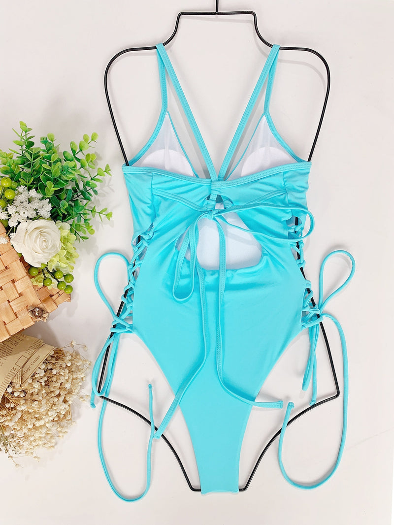 2021 Fashion Sexy One-piece Solid Blue Swimsuit for Women String Sex Bikini Girl Swimming Suit Monokini Bathing Push Up Swimwear