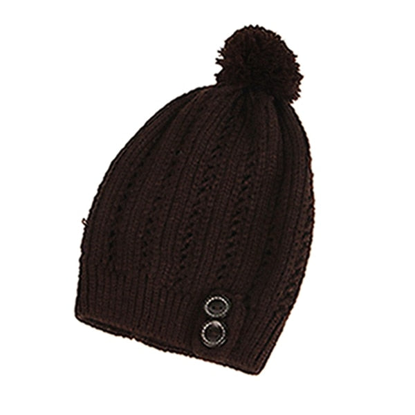 Women Cold Warm Winter Fur Knitted Hat - CTHOPER