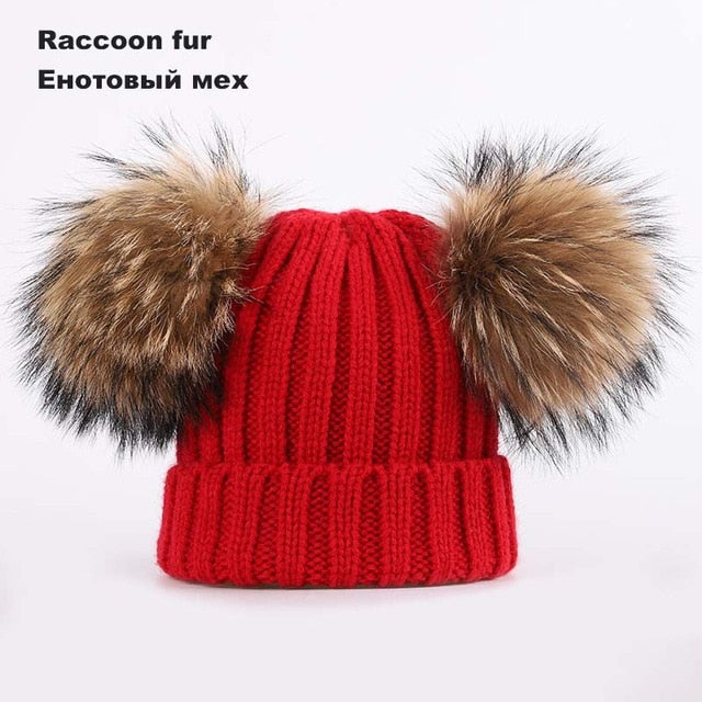 Kids Winter Two Raccoon Fur pom poms Knit Beanie Hats - CTHOPER