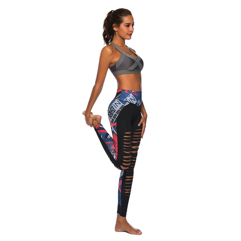 Women Fitness Sexy Hollow Out Printed Leggings - CTHOPER