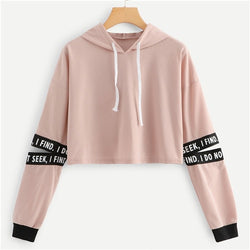 Women Pink Letter Drawstring Cut Out Sleeve Crop Hoodie Sweatshirt - CTHOPER