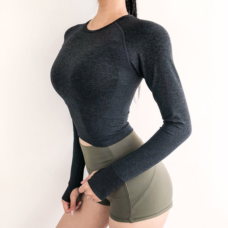Women's Seamless Long Sleeve Crop Top Yoga Shirts - CTHOPER