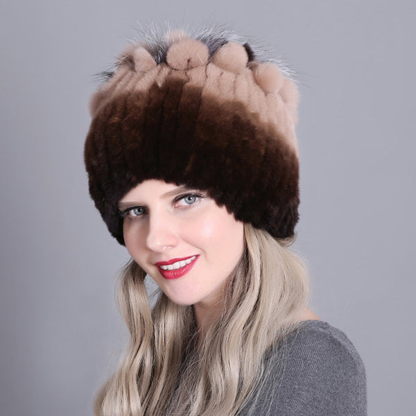 Women Winter Natural Rex Rabbit Fox Fur Cap