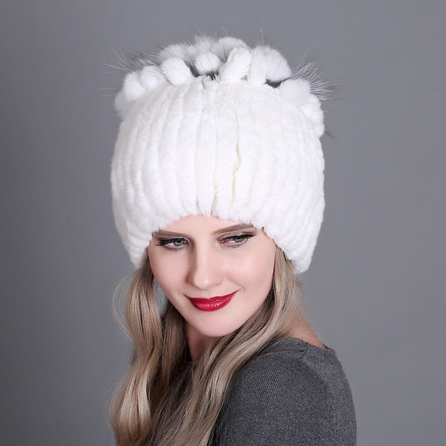 Women Winter Natural Rex Rabbit Fox Fur Cap - CTHOPER