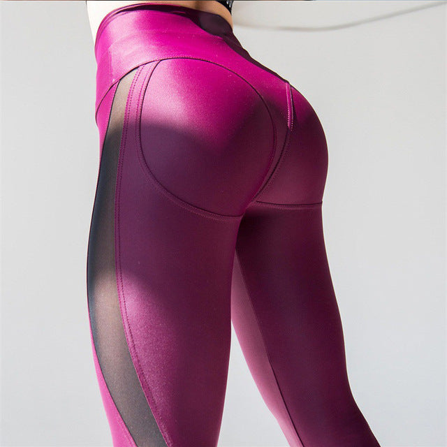 Women Sexy Stitching Breathable Push Up Transparent Gym Booty Scrunch Yoga Leggings - CTHOPER