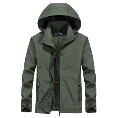 Men's Thin Overcoat Army Tactics Windbreaker Waterproof Breathable Hooded Jacket - CTHOPER