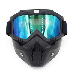 Snowboard Mask Winter Snowmobile Skiing Goggles Windproof Skiing Glass Motocross Sunglasses with Mouth Filter - CTHOPER