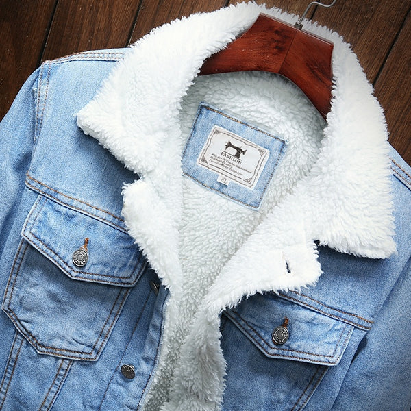 Men's Winter Wool Liner Thicker Denim Jean Coat Jackets - CTHOPER