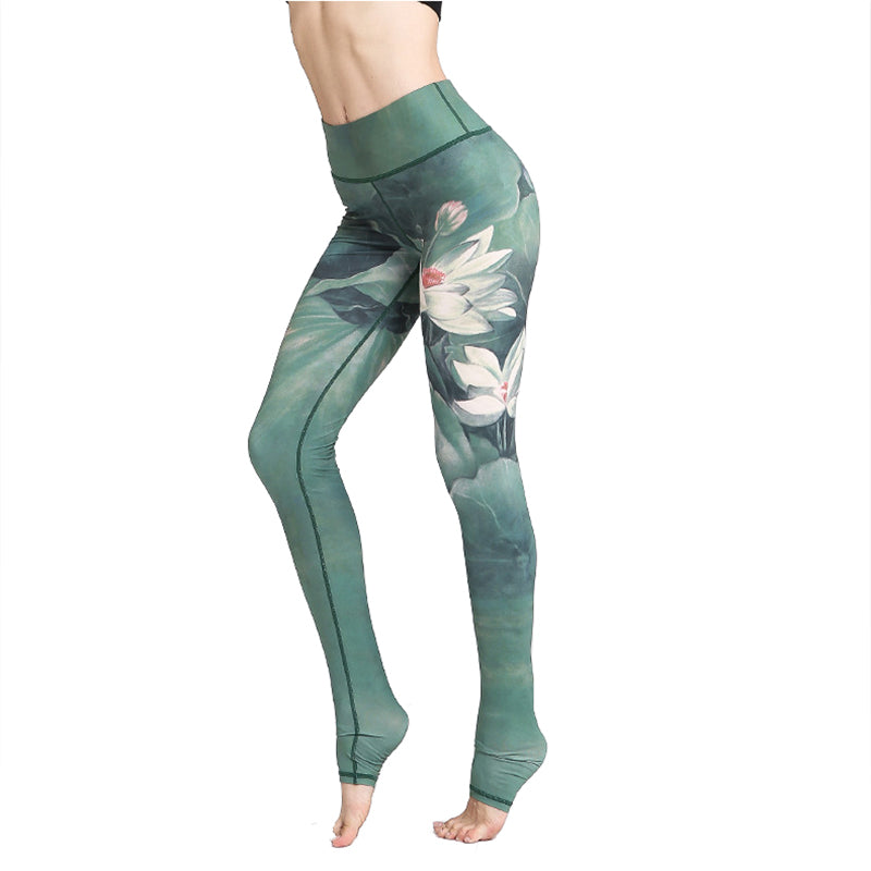 Women's High Waisted Lotus Printed Yoga Pants - CTHOPER