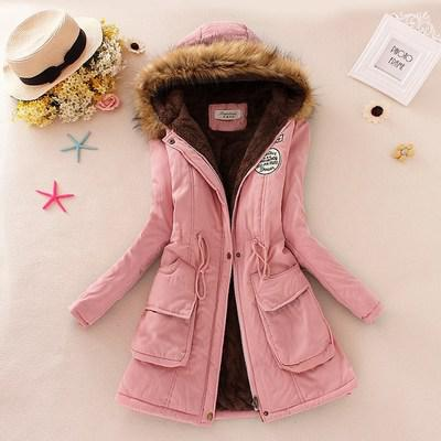 2019 Women's Winter Hooded Fur Collar Waist And Velvet Thick Warm Long Cotton Jacket Coat - CTHOPER