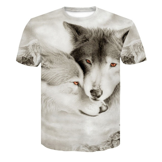 Men's Wolf 3D Print Animal Short Sleeve T Shirts - CTHOPER