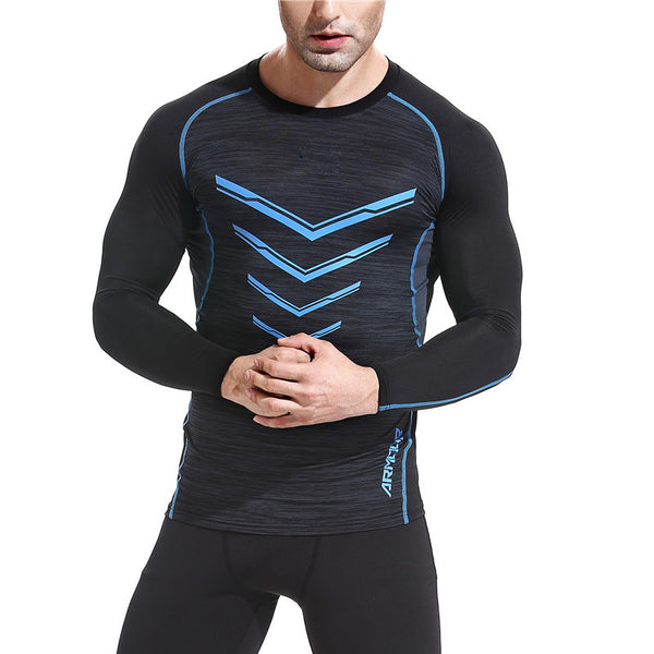 Men's GYM Long Sleeve Compression T Shirts - CTHOPER