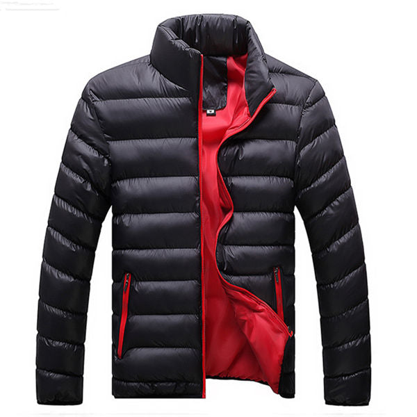 Men Winter Warm Slim Casual Windbreaker Quilted Jacket Coats - CTHOPER