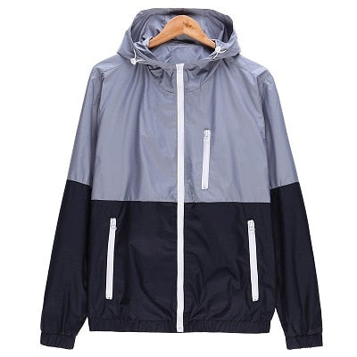 Men Hooded Contrast Color Zipper up Lightweight Windbreaker Jacket - CTHOPER