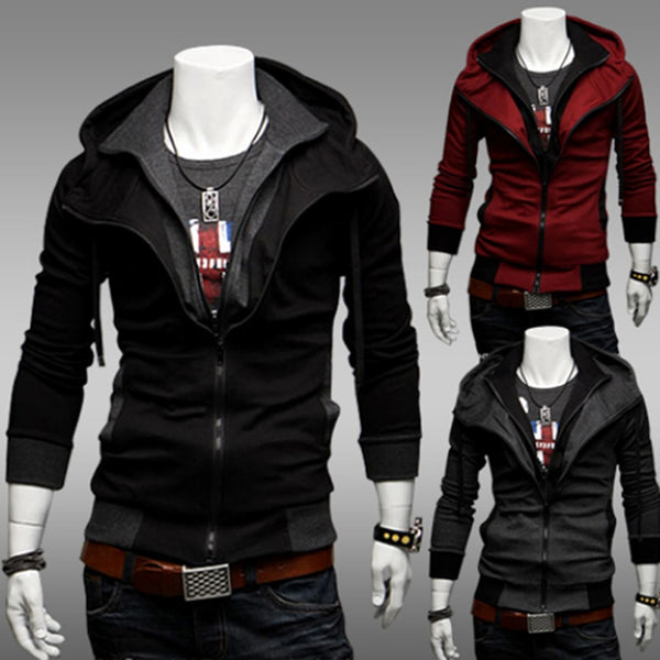 Men's Winter Color Matching Hooded Jacket Coat