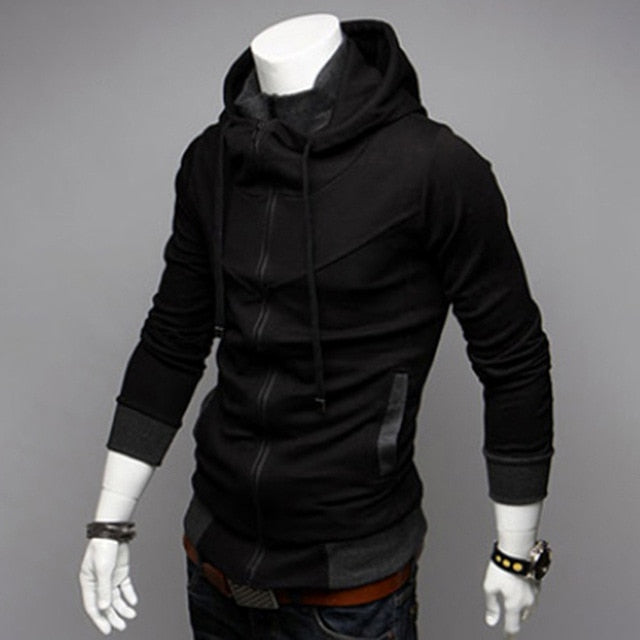 Men's Winter Color Matching Hooded Jacket Coat - CTHOPER
