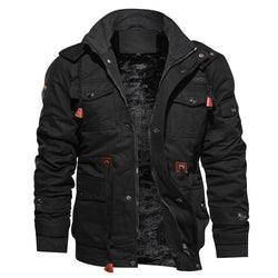 Men's Winter Fleece Warm Hooded Thermal Thick Military Jacket Coat - CTHOPER