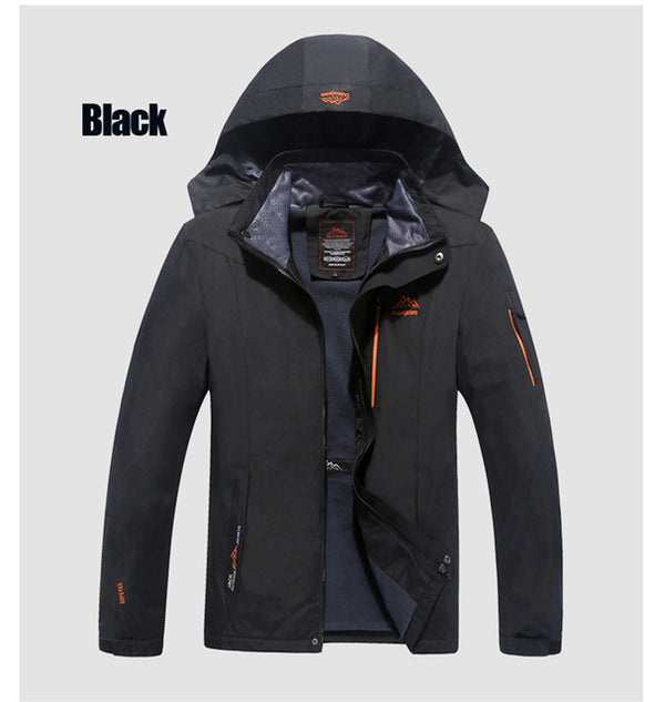Plus Size Men's Windproof Tourism Mountain Windbreaker Hooded Jacket Coat