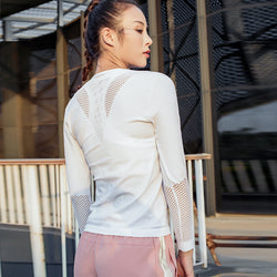 2019 Women's Long Sleeve Dry Fit Mesh Sport Top - CTHOPER
