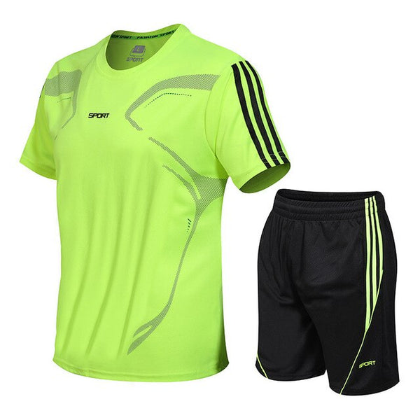 Men's Sport Short Sleeve T Shirt + Shorts Sets - CTHOPER
