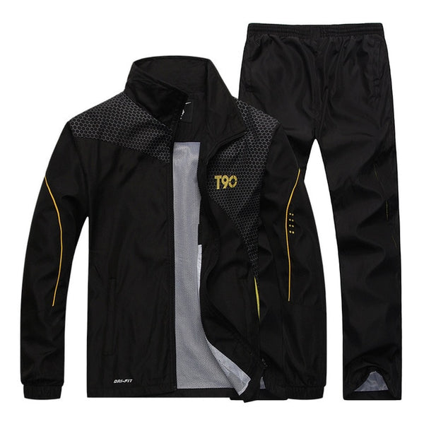 2019 Men Quick Dry Zipper Loose Sports Sweatshirt + Pants - CTHOPER