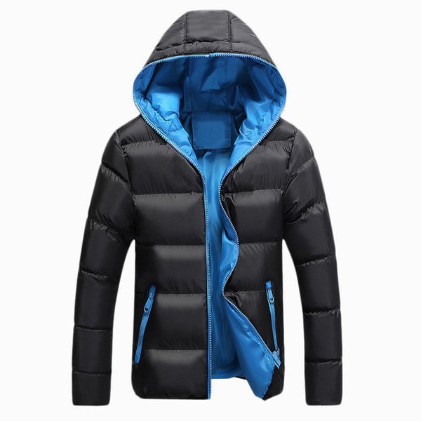 Men Winter Casual Outwear Windbreaker Slim Fit Hooded Overcoats Jackets - CTHOPER